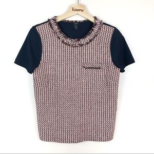 J Crew l Tweed - Front Tee In Camel Navy Pink XS